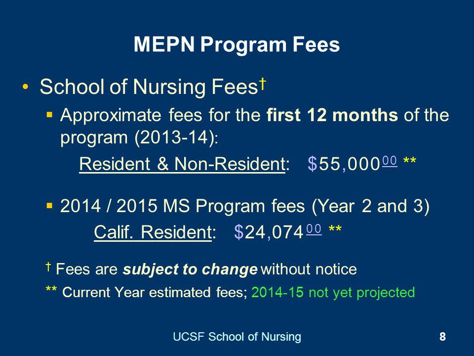 UCSF School of Nursing8 MEPN Program Fees School of Nursing Fees Approximate fees for the first 12 months of the program (2013-14) : Resident & Non-Re