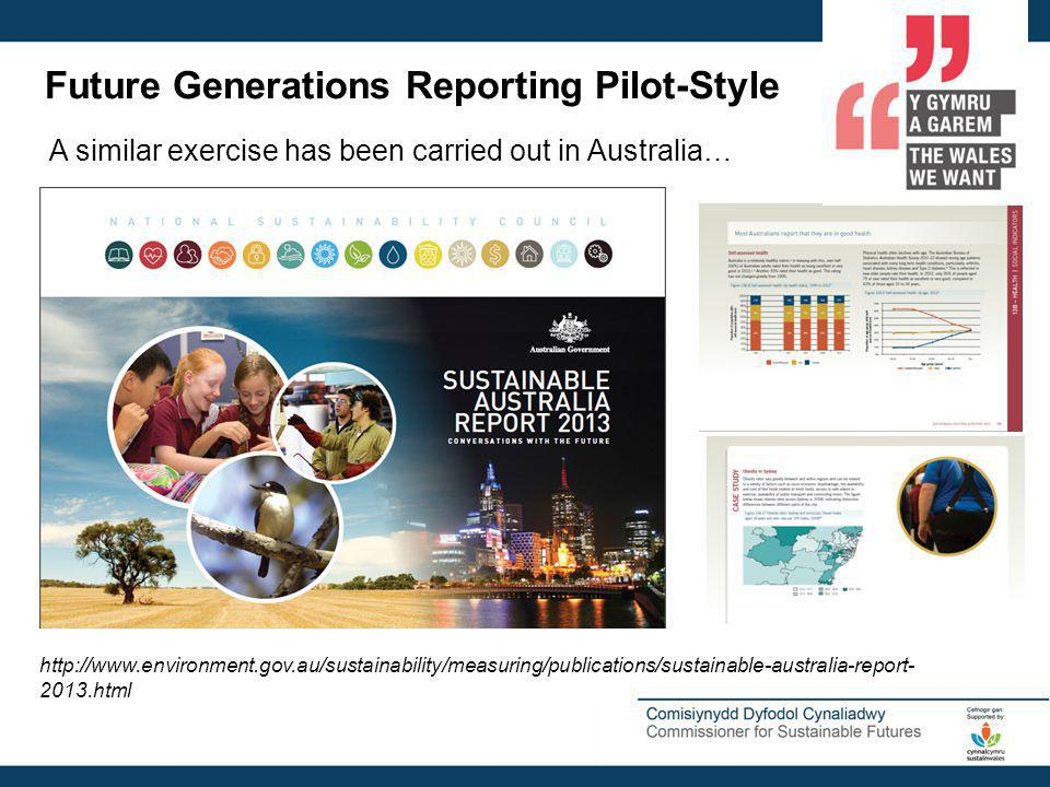 Future Generations Reporting Pilot-Style A similar exercise has been carried out in Australia… http://www.environment.gov.au/sustainability/measuring/publications/sustainable-australia-report- 2013.html