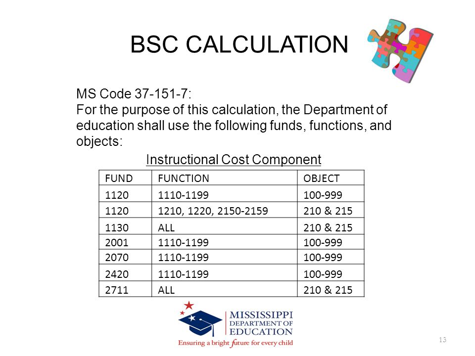 BSC CALCULATION 13 MS Code 37-151-7: For the purpose of this calculation, the Department of education shall use the following funds, functions, and objects: Instructional Cost Component FUND FUNCTION OBJECT 1120 1110-1199 100-999 1120 1210, 1220, 2150-2159 210 & 215 1130 ALL 210 & 215 2001 1110-1199 100-999 2070 1110-1199 100-999 2420 1110-1199 100-999 2711 ALL 210 & 215