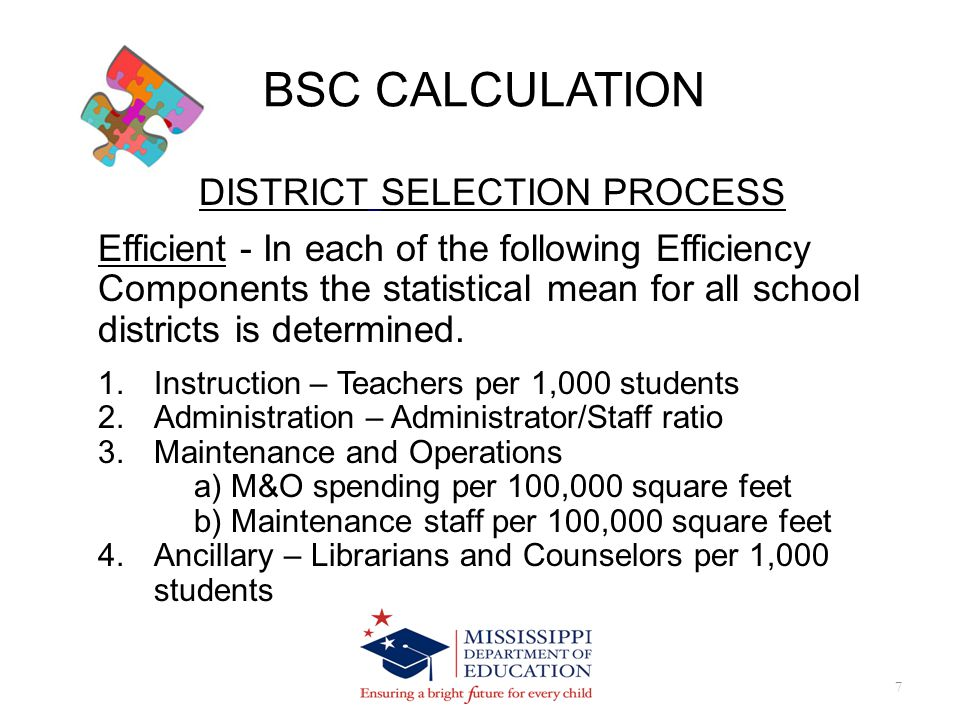 BSC CALCULATION 8 DISTNAME SUCCESS FUL DISTRICT INSTRUC TIONAL COST EFF ANCILLARY COST EFF PLANT AND MAINTEN ANCE COST EFF ADMINIST RATIVE COST EFF 7XXX District 11YXXXX 7XXX District 12YX 7XXX District 13N 7XXX District 14YXX 7XXX District 15N