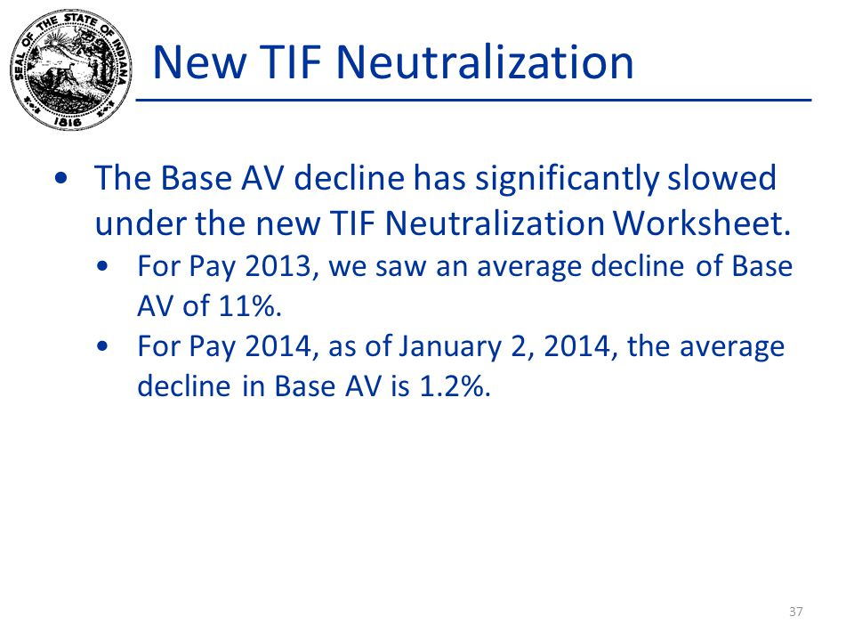 New TIF Neutralization The Base AV decline has significantly slowed under the new TIF Neutralization Worksheet. For Pay 2013, we saw an average declin