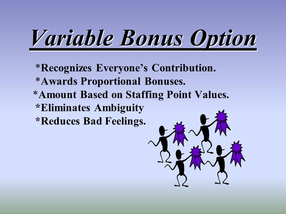 Variable Bonus Option *Recognizes Everyones Contribution. *Awards Proportional Bonuses. *Amount Based on Staffing Point Values. *Eliminates Ambiguity