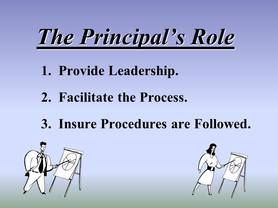 The Principals Role 1. Provide Leadership. 2. Facilitate the Process. 3. Insure Procedures are Followed.
