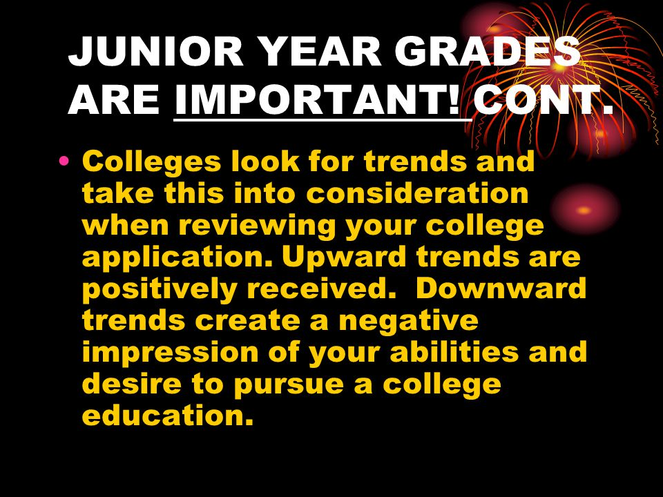 JUNIOR YEAR GRADES ARE IMPORTANT.
