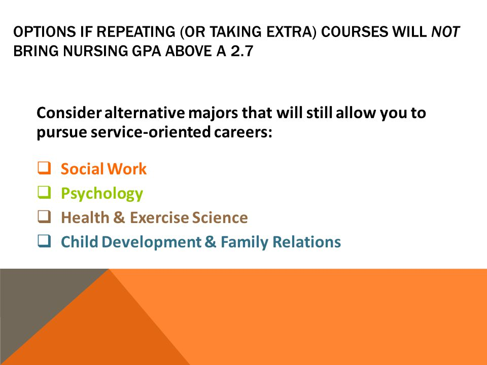 OPTIONS IF REPEATING (OR TAKING EXTRA) COURSES WILL NOT BRING NURSING GPA ABOVE A 2.7 Consider alternative majors that will still allow you to pursue service-oriented careers: Social Work Psychology Health & Exercise Science Child Development & Family Relations