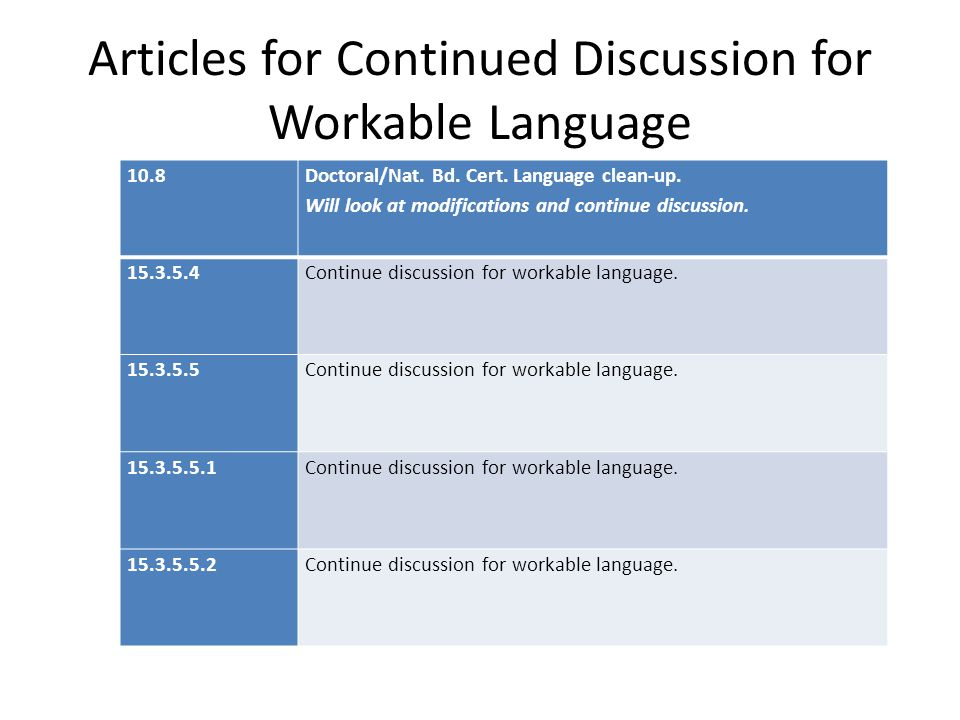 Articles for Continued Discussion for Workable Language 10.8 Doctoral/Nat. Bd. Cert. Language clean-up. Will look at modifications and continue discus