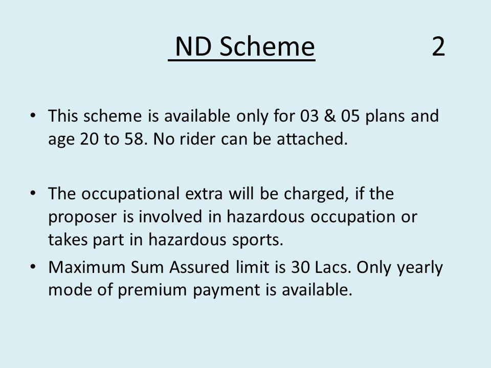 ND Scheme 2 This scheme is available only for 03 & 05 plans and age 20 to 58.