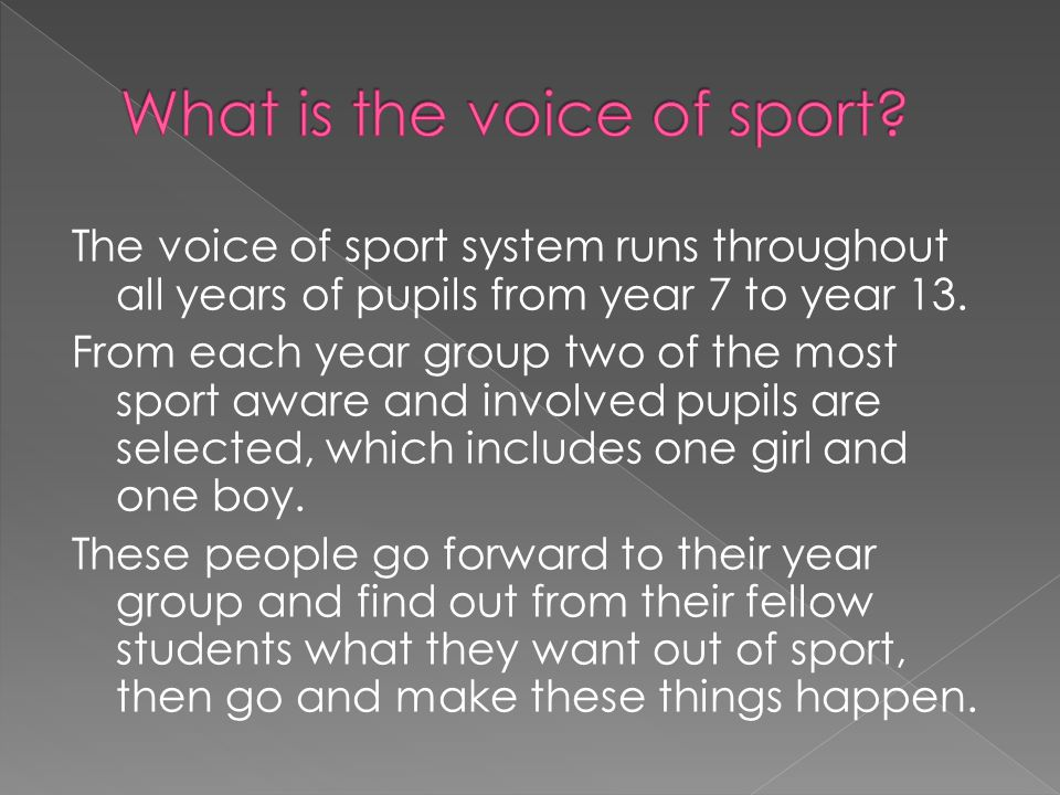 Every month the members of the voice of sport meet at lunch time for a meeting in which they discuss the main issues that have been brought up by their year groups.