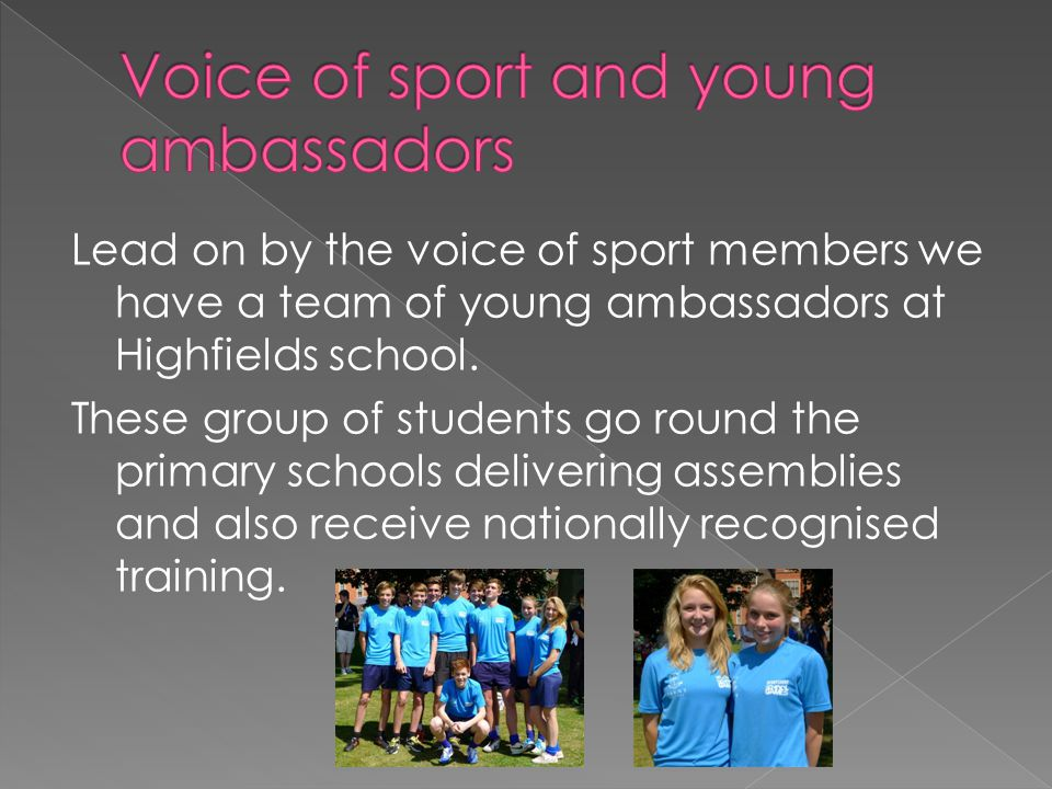 The voice of sport system has a strong link with our schools leadership system.