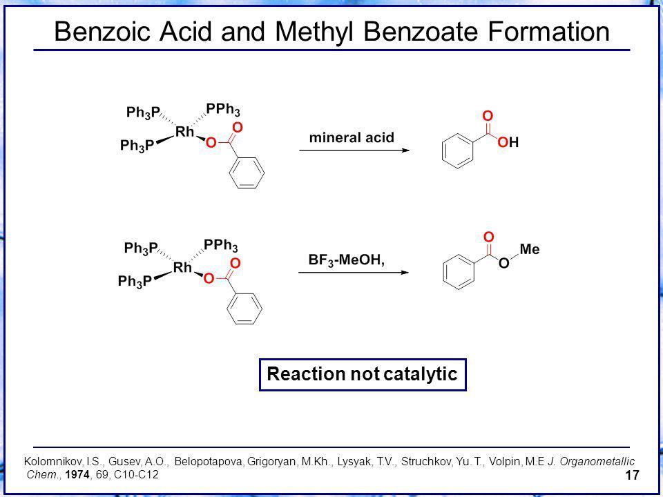 17 Benzoic Acid and Methyl Benzoate Formation Reaction not catalytic Kolomnikov, I.S., Gusev, A.O., Belopotapova, Grigoryan, M.Kh., Lysyak, T.V., Struchkov, Yu.