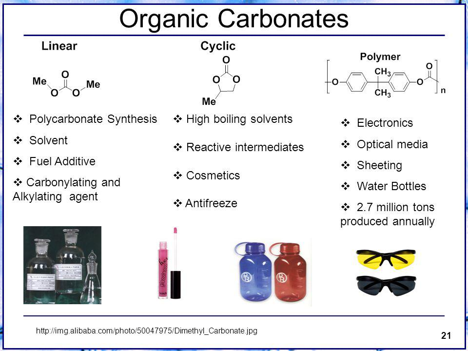 21 Organic Carbonates Polycarbonate Synthesis Solvent Fuel Additive Carbonylating and Alkylating agent High boiling solvents Reactive intermediates Cosmetics Antifreeze http://img.alibaba.com/photo/50047975/Dimethyl_Carbonate.jpg Electronics Optical media Sheeting Water Bottles 2.7 million tons produced annually