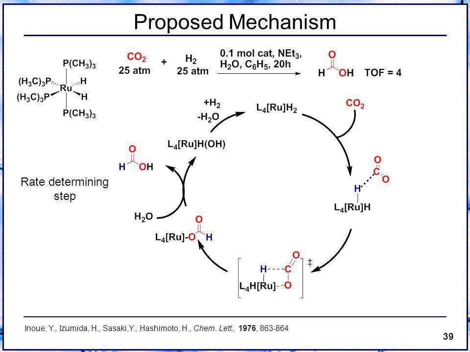 39 Proposed Mechanism Rate determining step Inoue, Y., Izumida, H., Sasaki,Y., Hashimoto, H., Chem.