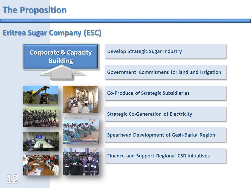 The Proposition Eritrea Sugar Company (ESC) Government Commitment for land and Irrigation Strategic Co-Generation of Electricity Develop Strategic Sug