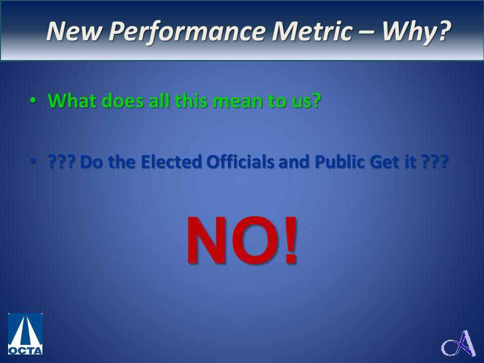 New Performance Measure – WHY? What does all this mean to us? What does all this mean to us? ??? Do the Elected Officials and Public Get it ??? ??? Do