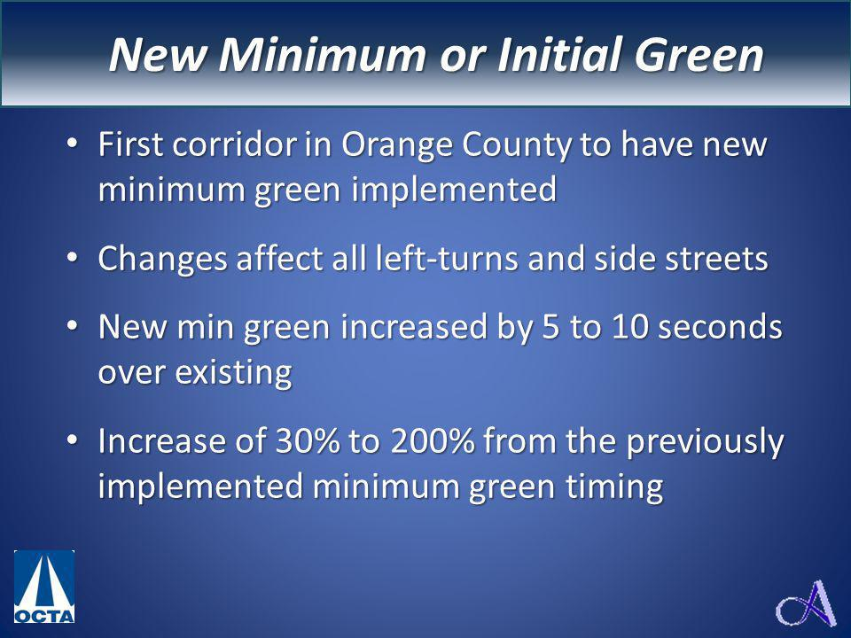 New Minimum Greens First corridor in Orange County to have new minimum green implemented First corridor in Orange County to have new minimum green implemented Changes affect all left-turns and side streets Changes affect all left-turns and side streets New min green increased by 5 to 10 seconds over existing New min green increased by 5 to 10 seconds over existing Increase of 30% to 200% from the previously implemented minimum green timing Increase of 30% to 200% from the previously implemented minimum green timing New Minimum or Initial Green