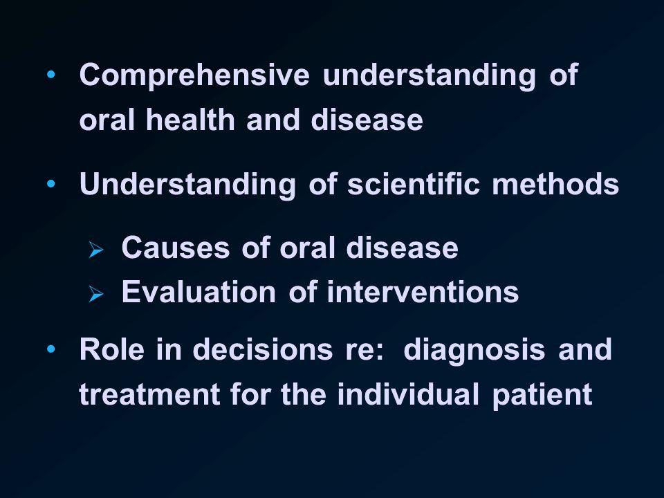 Comprehensive understanding of oral health and disease Understanding of scientific methods Causes of oral disease Evaluation of interventions Role in decisions re: diagnosis and treatment for the individual patient