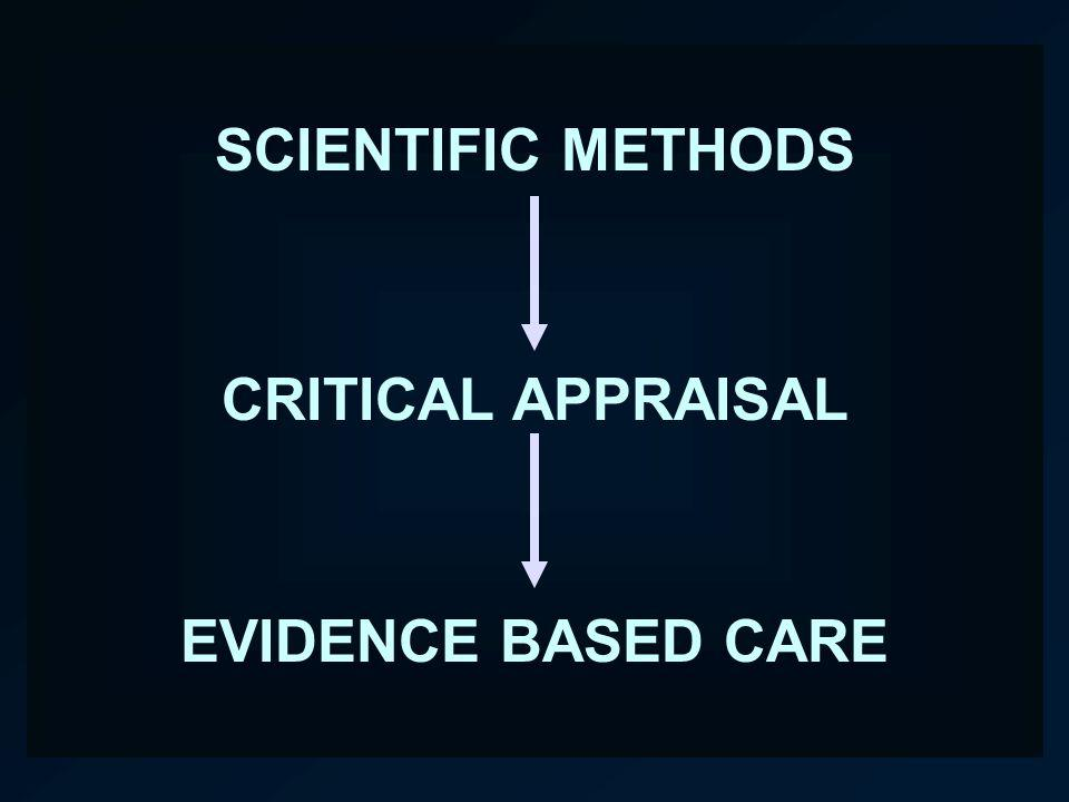 SCIENTIFIC METHODS CRITICAL APPRAISAL EVIDENCE BASED CARE