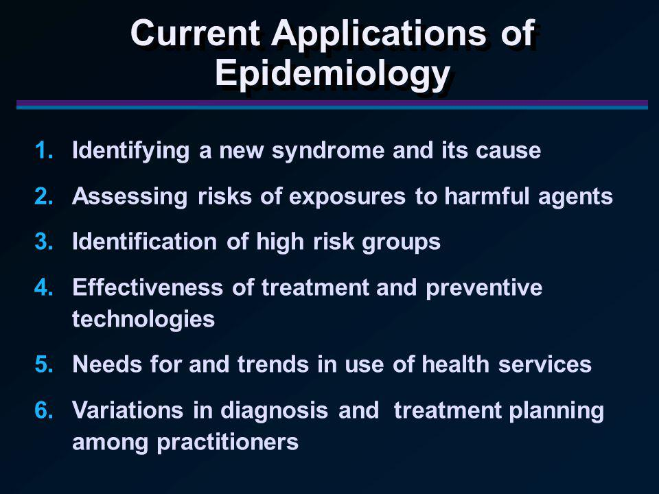1.Identifying a new syndrome and its cause 2.Assessing risks of exposures to harmful agents 3.Identification of high risk groups 4.Effectiveness of treatment and preventive technologies 5.Needs for and trends in use of health services 6.Variations in diagnosis and treatment planning among practitioners Current Applications of Epidemiology