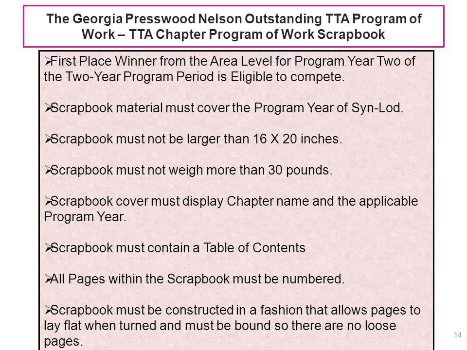 The Georgia Presswood Nelson Outstanding TTA Program of Work – TTA Chapter Program of Work Scrapbook 14 First Place Winner from the Area Level for Pro