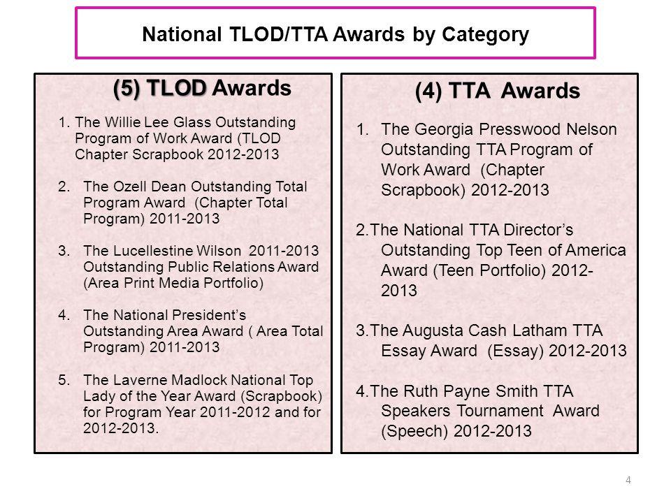 National TLOD/TTA Awards by Category (5) TLOD (5) TLOD Awards 1.The Willie Lee Glass Outstanding Program of Work Award (TLOD Chapter Scrapbook 2012-20