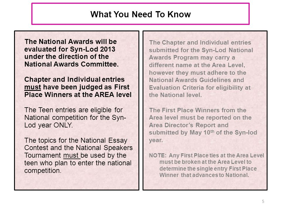 What You Need To Know The National Awards will be evaluated for Syn-Lod 2013 under the direction of the National Awards Committee. Chapter and Individ