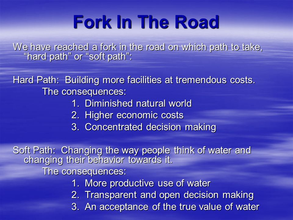 Fork In The Road We have reached a fork in the road on which path to take, hard path or soft path: Hard Path: Building more facilities at tremendous c