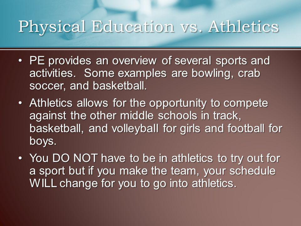 PE provides an overview of several sports and activities.