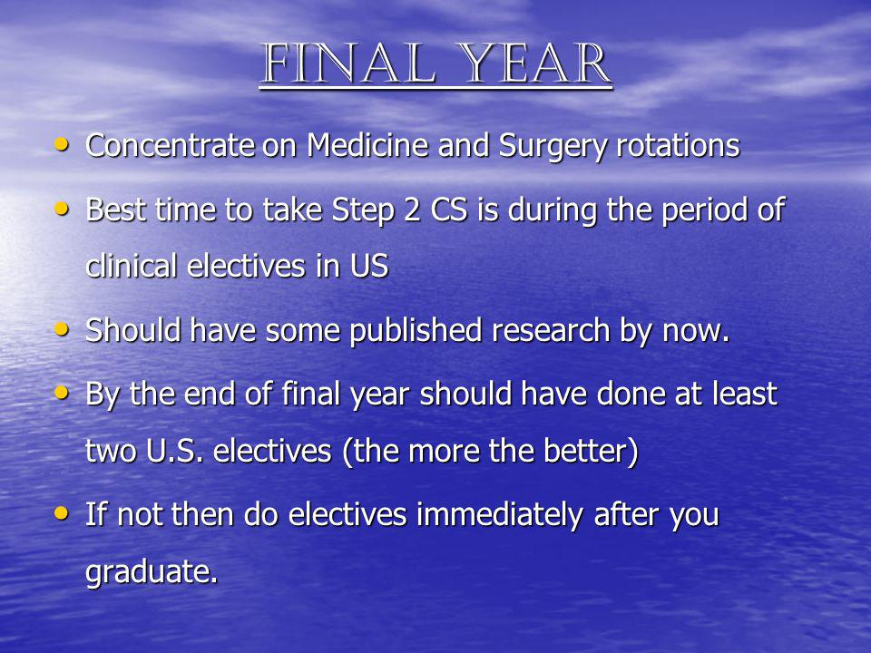 Final year Concentrate on Medicine and Surgery rotations Concentrate on Medicine and Surgery rotations Best time to take Step 2 CS is during the perio