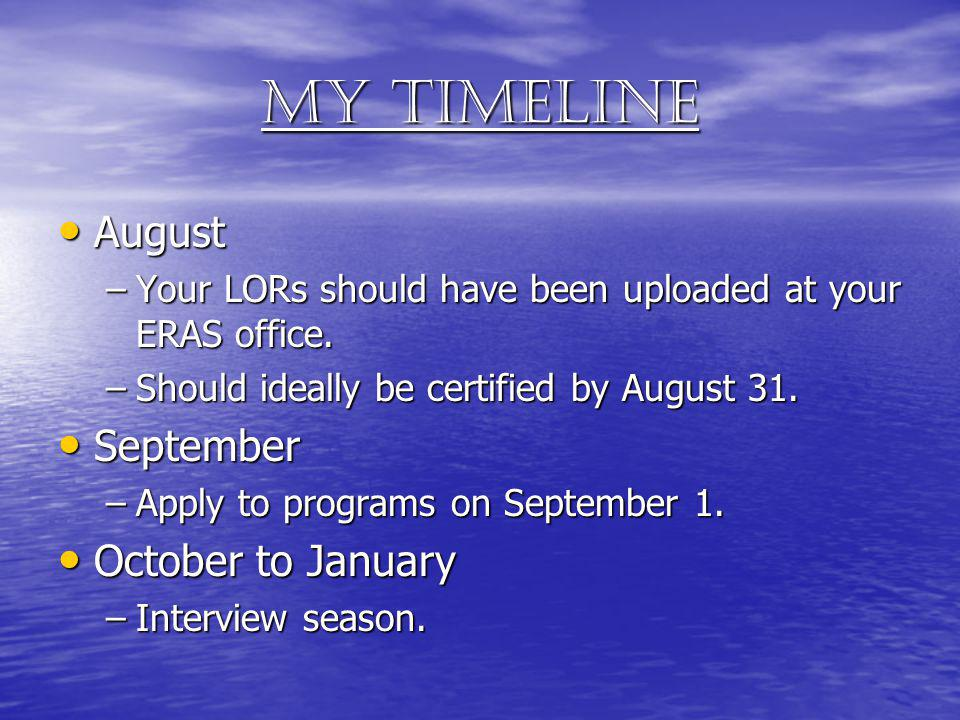 My timeline August August –Your LORs should have been uploaded at your ERAS office. –Should ideally be certified by August 31. September September –Ap