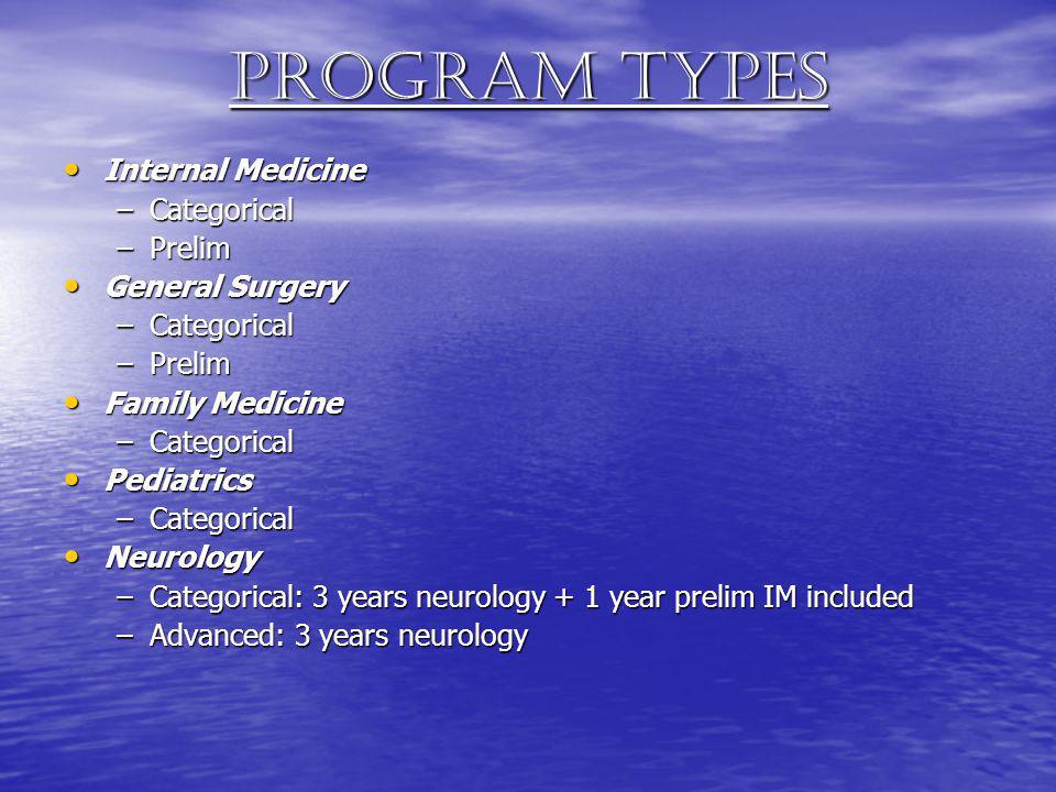 Program types Internal Medicine Internal Medicine –Categorical –Prelim General Surgery General Surgery –Categorical –Prelim Family Medicine Family Med