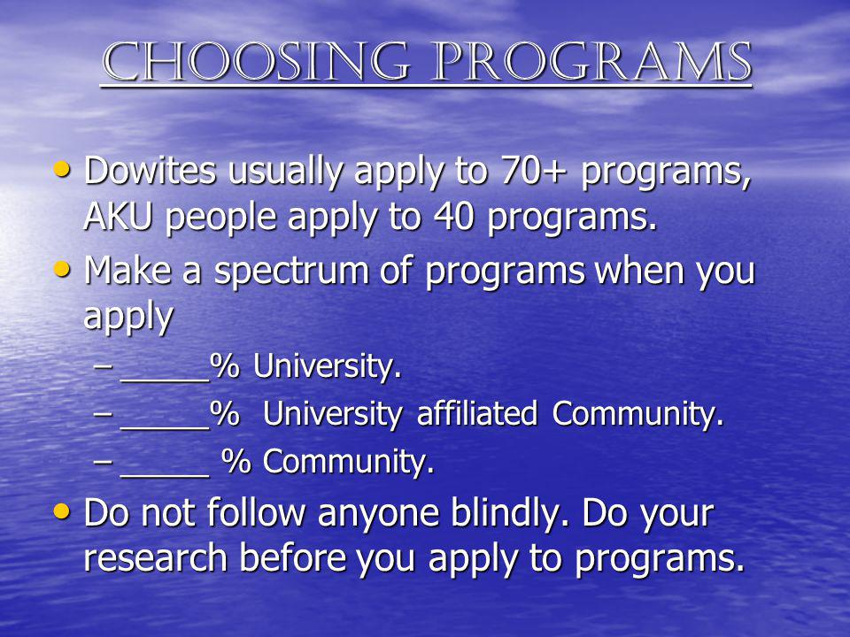 Choosing programs Dowites usually apply to 70+ programs, AKU people apply to 40 programs. Dowites usually apply to 70+ programs, AKU people apply to 4