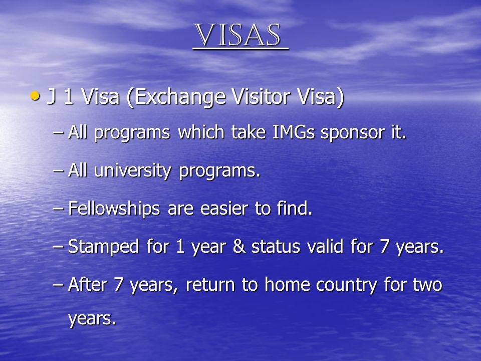 Visas J 1 Visa (Exchange Visitor Visa) J 1 Visa (Exchange Visitor Visa) –All programs which take IMGs sponsor it. –All university programs. –Fellowshi