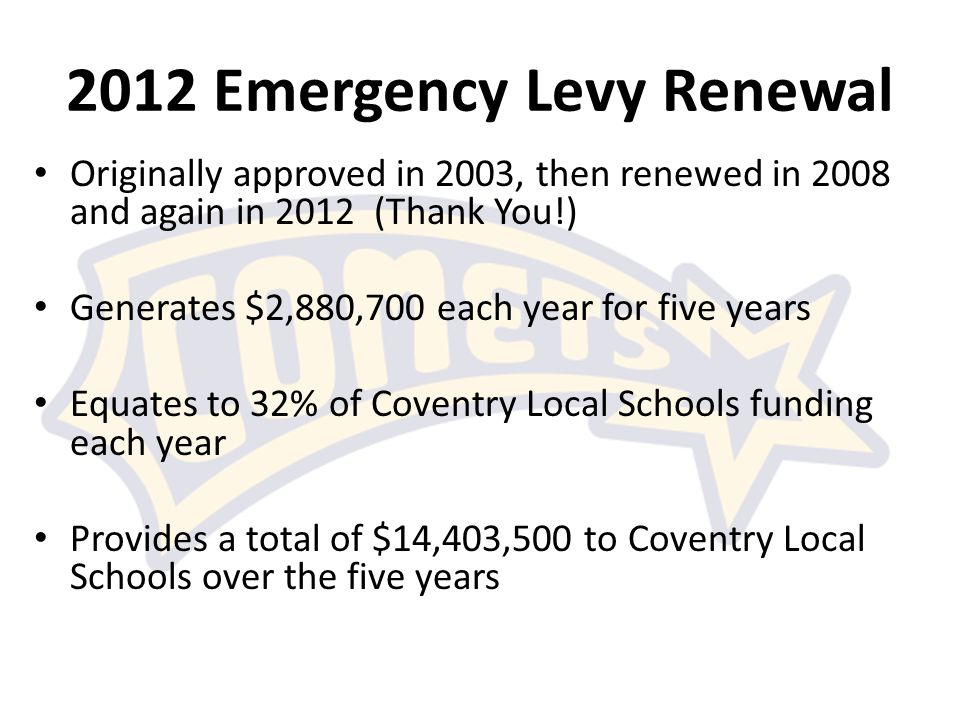 2012 Emergency Levy Renewal Originally approved in 2003, then renewed in 2008 and again in 2012 (Thank You!) Generates $2,880,700 each year for five years Equates to 32% of Coventry Local Schools funding each year Provides a total of $14,403,500 to Coventry Local Schools over the five years