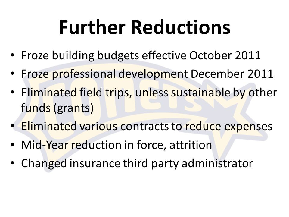 Further Reductions Froze building budgets effective October 2011 Froze professional development December 2011 Eliminated field trips, unless sustainable by other funds (grants) Eliminated various contracts to reduce expenses Mid-Year reduction in force, attrition Changed insurance third party administrator
