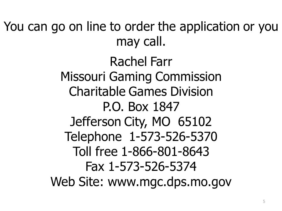 You can go on line to order the application or you may call.