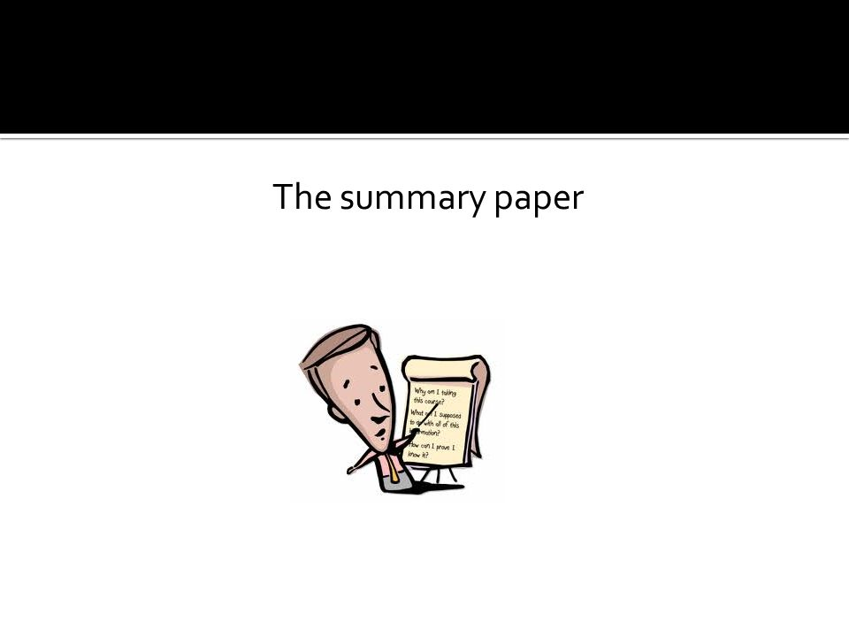 The summary paper