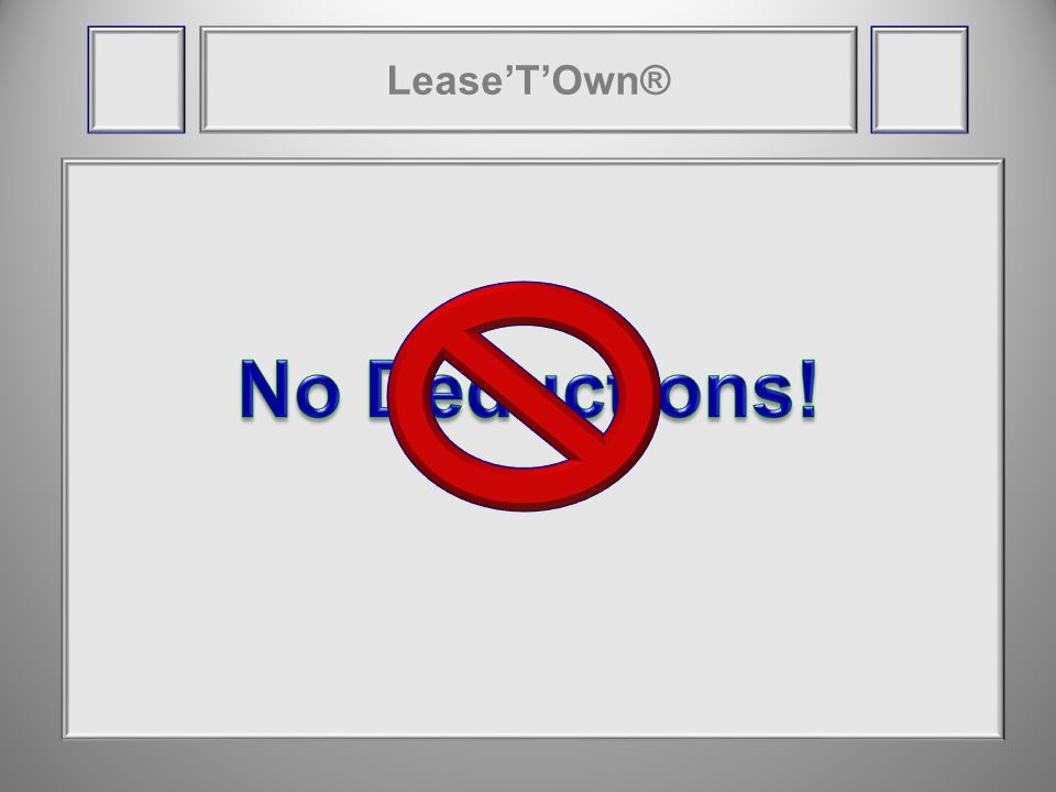 LeaseTOwn® Buy-Here, Pay-HereNorthlands LeaseTOwn® End of Year 1$55,000End of Year 1$224,000 Contract End$846,000Contract End$950,000 Cost of Cars-$57