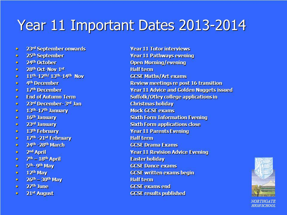 NORTHGATE HIGH SCHOOL Year 11 Important Dates 2013-2014 23 rd September onwardsYear 11 Tutor interviews 23 rd September onwardsYear 11 Tutor interview