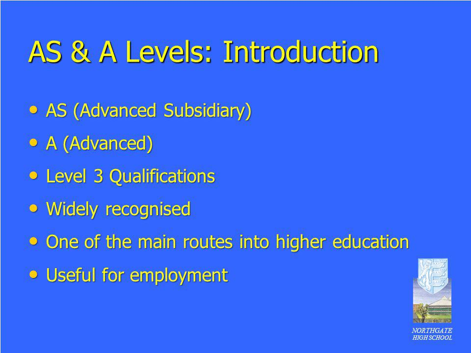 NORTHGATE HIGH SCHOOL AS & A Levels: Introduction AS (Advanced Subsidiary) AS (Advanced Subsidiary) A (Advanced) A (Advanced) Level 3 Qualifications L