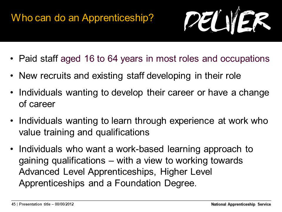 45 | Presentation title – 00/00/2012 Who can do an Apprenticeship? Paid staff aged 16 to 64 years in most roles and occupations New recruits and exist