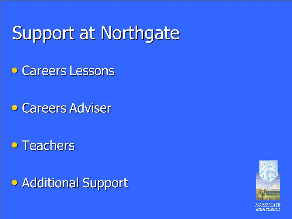 NORTHGATE HIGH SCHOOL Support at Northgate Careers Lessons Careers Lessons Careers Adviser Careers Adviser Teachers Teachers Additional Support Additi