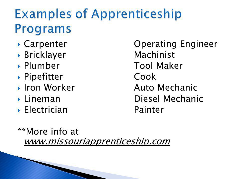 CarpenterOperating Engineer BricklayerMachinist PlumberTool Maker PipefitterCook Iron WorkerAuto Mechanic LinemanDiesel Mechanic ElectricianPainter **More info at www.missouriapprenticeship.com
