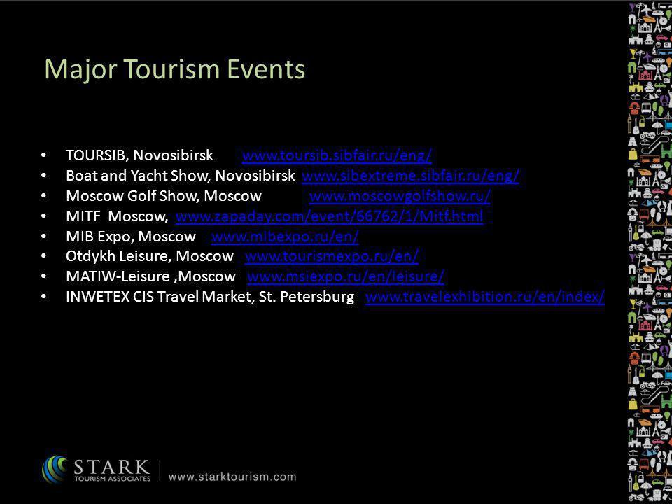 Major Tourism Events TOURSIB, Novosibirskwww.toursib.sibfair.ru/eng/www.toursib.sibfair.ru/eng/ Boat and Yacht Show, Novosibirsk www.sibextreme.sibfai