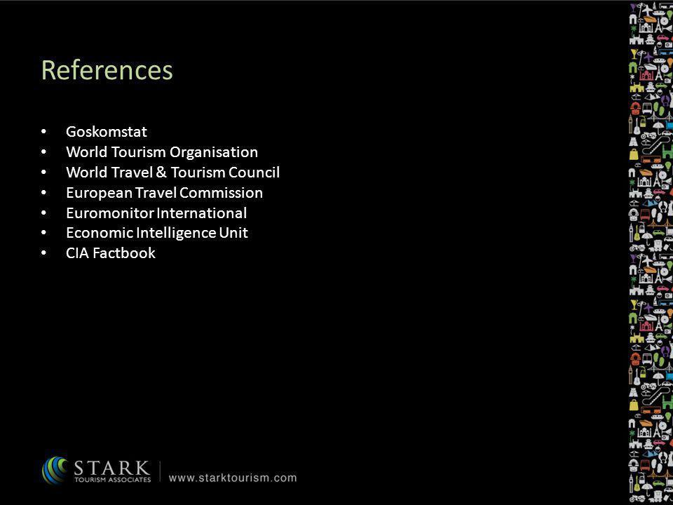 References Goskomstat World Tourism Organisation World Travel & Tourism Council European Travel Commission Euromonitor International Economic Intellig