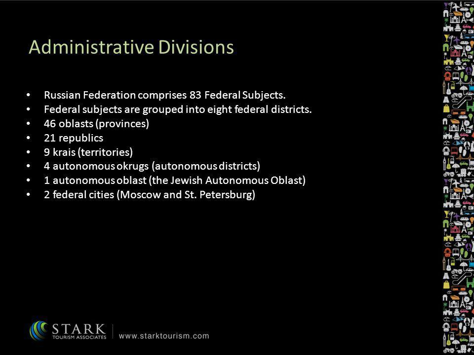 Administrative Divisions Russian Federation comprises 83 Federal Subjects. Federal subjects are grouped into eight federal districts. 46 oblasts (prov