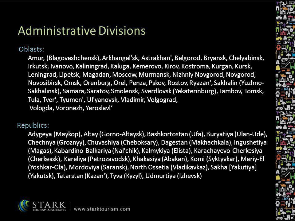 Administrative Divisions Oblasts: Amur, (Blagoveshchensk), Arkhangel'sk, Astrakhan', Belgorod, Bryansk, Chelyabinsk, Irkutsk, Ivanovo, Kaliningrad, Ka