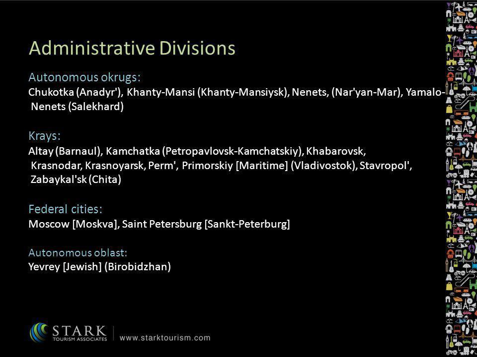Administrative Divisions Autonomous okrugs: Chukotka (Anadyr'), Khanty-Mansi (Khanty-Mansiysk), Nenets, (Nar'yan-Mar), Yamalo- Nenets (Salekhard) Kray
