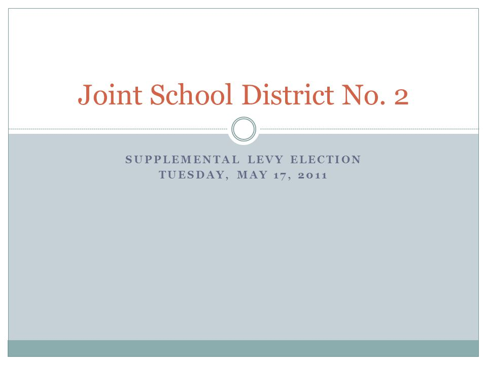 Proposed Supplemental Levy Introduction On Tuesday, May 17, voters in Joint School District No.