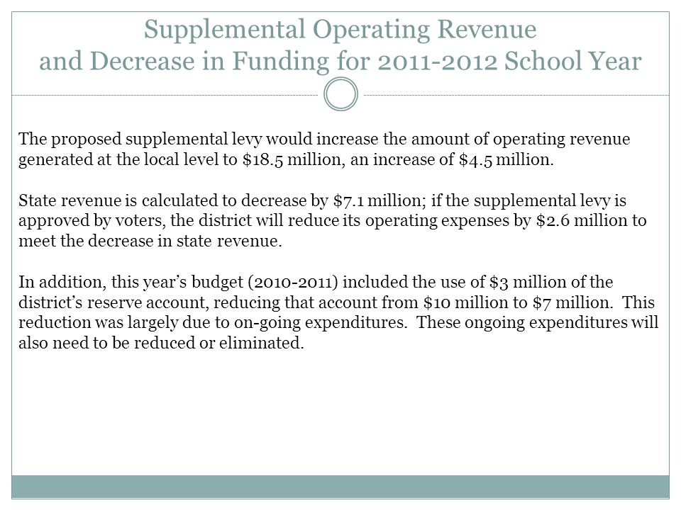 Supplemental Operating Revenue and Decrease in Funding for 2011-2012 School Year The proposed supplemental levy would increase the amount of operating revenue generated at the local level to $18.5 million, an increase of $4.5 million.