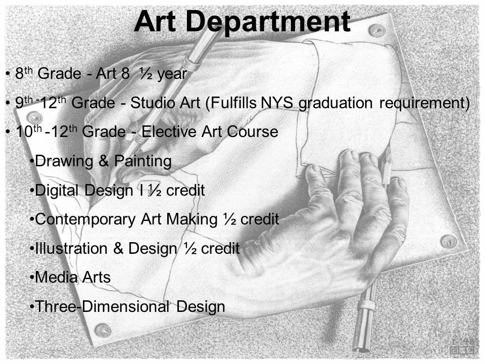 Art Department 8 th Grade - Art 8 ½ year 9 th - 12 th Grade - Studio Art (Fulfills NYS graduation requirement) 10 th -12 th Grade - Elective Art Cours